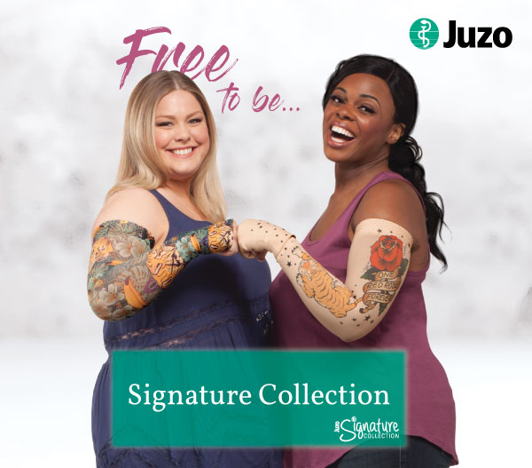 Two women modeling Juzo products