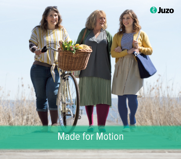 Three women modeling Juzo products