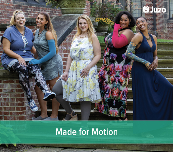 Women modeling Juzo medical compression products
